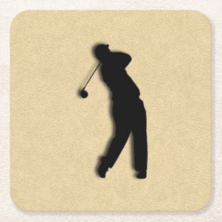 Tan Leather Golf Square Paper Coaster