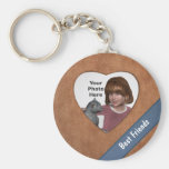 Tan Leather Look Heart Frame: Add a Photo and Text Keychain