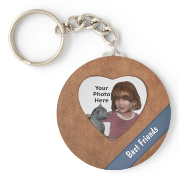 Valentines Themed Tan Leather Look Heart Frame: Add a Photo and Text Keychain