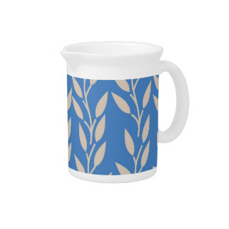 Tan Leaves on Blue Drink Pitchers