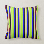 [ Thumbnail: Tan, Light Green, Maroon, Blue & Black Colored Throw Pillow ]