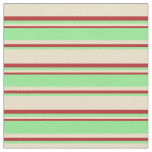 [ Thumbnail: Tan, Light Green & Red Lines Fabric ]