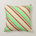[ Thumbnail: Tan, Light Green & Red Lines Throw Pillow ]