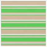 [ Thumbnail: Tan, Lime Green, and White Stripes Pattern Fabric ]
