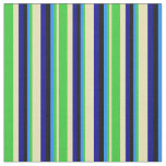 [ Thumbnail: Tan, Lime Green, Blue, Black & Dark Blue Lines Fabric ]