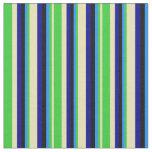 [ Thumbnail: Tan, Lime Green, Blue, Black & Dark Blue Lines Fabric ]