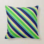 [ Thumbnail: Tan, Lime Green, Blue, Black & Dark Blue Lines Throw Pillow ]