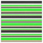 [ Thumbnail: Tan, Lime, Mint Cream & Black Lined Pattern Fabric ]