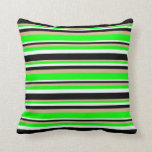 [ Thumbnail: Tan, Lime, Mint Cream & Black Lined Pattern Pillow ]