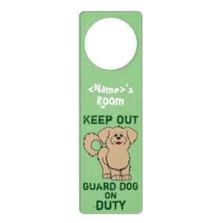 Tan Maltese Puppy Guard Dog on Duty Door Knob Hangers