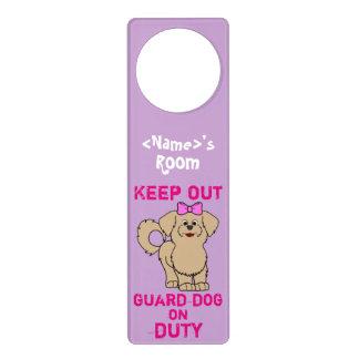 Tan Maltese with Pink Bow Guard Dog on Duty Door Knob Hangers