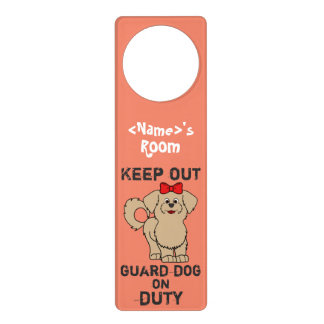 Tan Maltese with Red Bow Guard Dog on Duty Door Knob Hanger