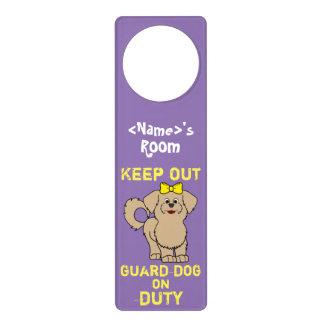 Tan Maltese with Yellow Bow Guard Dog on Duty Door Knob Hanger