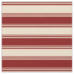 [ Thumbnail: Tan & Maroon Colored Lined/Striped Pattern Fabric ]