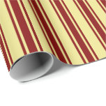 [ Thumbnail: Tan & Maroon Colored Lined/Striped Pattern Wrapping Paper ]