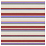 [ Thumbnail: Tan, Maroon, Medium Slate Blue, Dim Gray & White Fabric ]