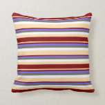 [ Thumbnail: Tan, Maroon, Medium Slate Blue, Dim Gray & White Throw Pillow ]