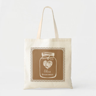 Tan Mason Jar Wedding Tote Bag BRIDESMAID A05A