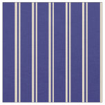 [ Thumbnail: Tan & Midnight Blue Colored Stripes/Lines Pattern Fabric ]