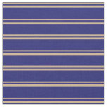 [ Thumbnail: Tan & Midnight Blue Colored Stripes Pattern Fabric ]