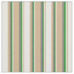 [ Thumbnail: Tan, Mint Cream, Forest Green, and Gray Colored Fabric ]
