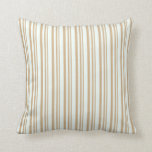 [ Thumbnail: Tan & Mint Cream Striped/Lined Pattern Pillow ]