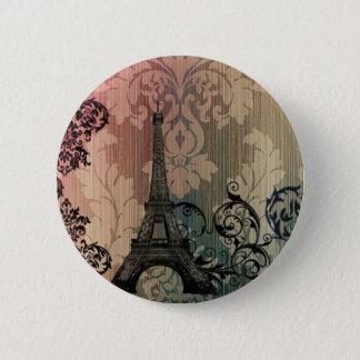 tan mocha damask romantic Paris Eiffel Tower Pinback Button