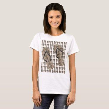 Beach Themed Tan Modern Flowers - T-Shirt