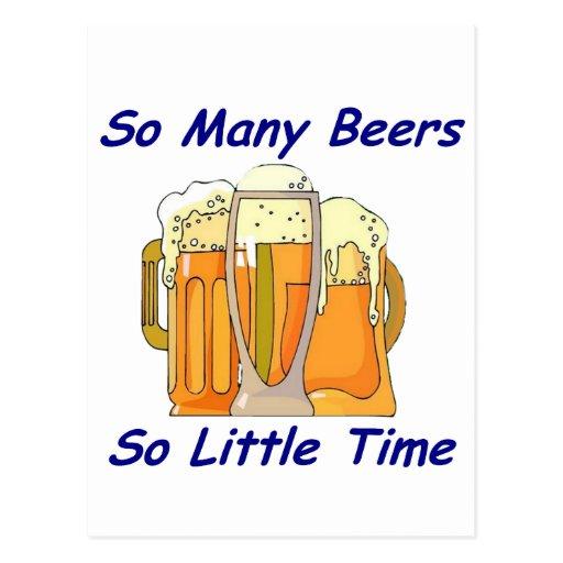 Tan muchas cervezas, tan poca hora tarjeta postal