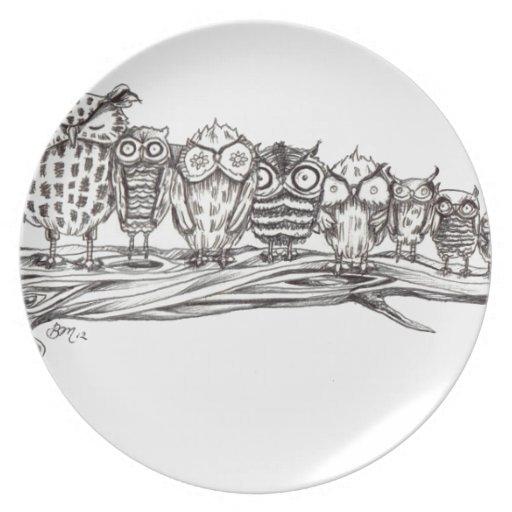 Tan muchos búhos plato de cena