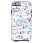 Tan muchos Doodles de la escuela Funda De iPhone 6 Tough