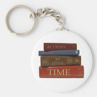 Tan muchos libros tan poca hora llavero redondo tipo pin