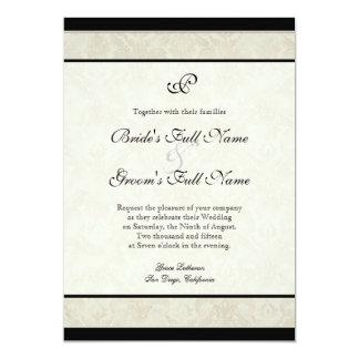 Tan n Cream Red Tulip Damask Wedding Announcement