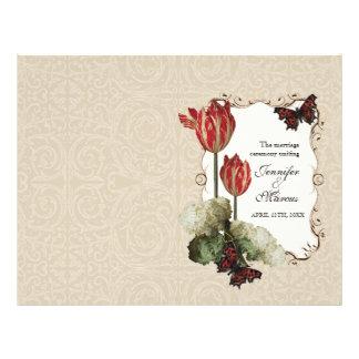 Tan n Cream Red Tulip Damask - Wedding Program Flyers