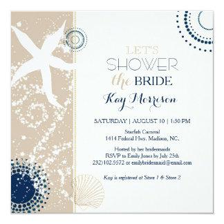 Tan Navy Blue Ivory Beach Bridal Shower Card