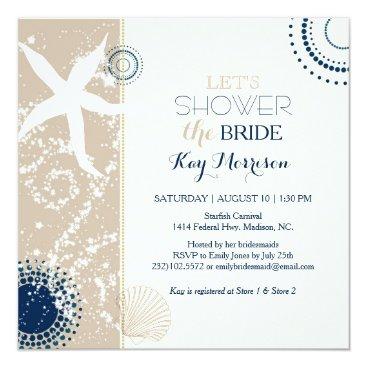 Beach Themed Tan Navy Blue Ivory Beach Bridal Shower Card