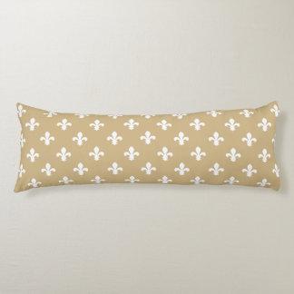 Tan Neutral Fleur de Lys Body Pillow
