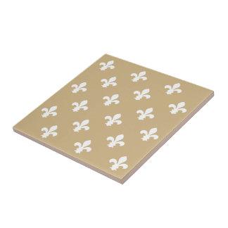 Tan Neutral Fleur de Lys Small Square Tile