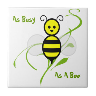 Tan ocupado como una abeja azulejo cuadrado pequeño