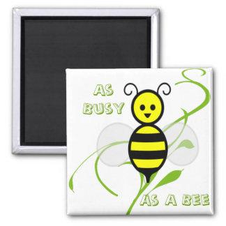 Tan ocupado como una abeja de la miel de la abeja imán cuadrado