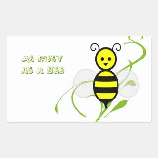 Tan ocupado como una abeja pegatina rectangular