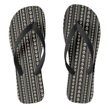 Beach Themed Tan-on-Black Paw Print Stripe Flip-Flops Flip Flops