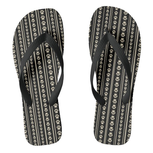 Tan-on-Black Paw Print Stripe Flip-Flops Flip Flops