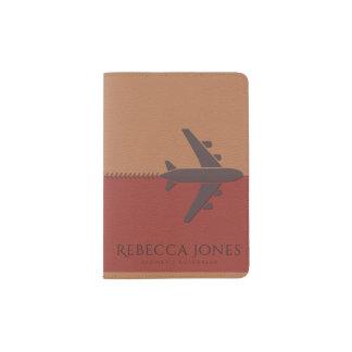 TAN ORANGE BROWN BLUE LEATHER AEROPLANE MONOGRAM PASSPORT HOLDER
