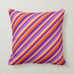 [ Thumbnail: Tan, Orchid, Indigo, and Red Colored Pattern Throw Pillow ]