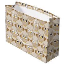 Tan Owls Large Gift Bag