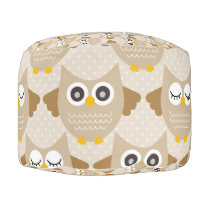 Tan Owls Pouf