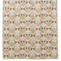 Tan Owls Shower Curtain