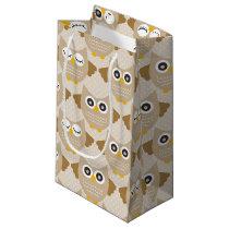 Tan Owls Small Gift Bag