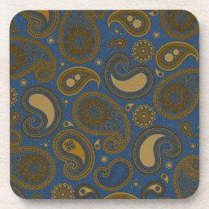 Tan Paisley pattern on blue fabric Drink Coaster